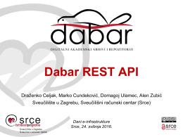 Dabar REST API - Srce - Sveučilište u Zagrebu