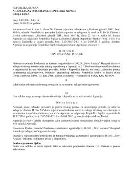 REPUBLIKA SRPSKA AGENCIJA ZA OSIGURANjE REPUBLIKE