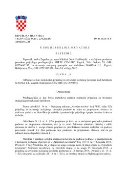 Magma d.d. - Rješenje Trgovačkog suda
