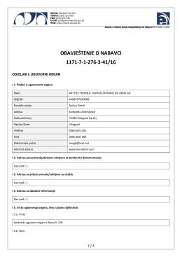 obavještenje o nabavci 1171-7-1-276-3-41/16