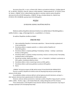 Poziv za redovnu sednicu Skupštine akcionara