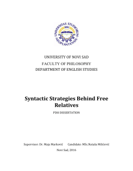 Syntactic Strategies Behind Free Relatives