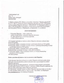 Dnevni red Skupštine Akcionara