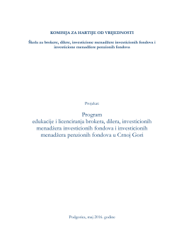 Program obuke za licenciranje - KHOV