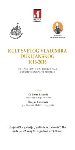 kult svetog vladimira dukljanskog 1016-2016