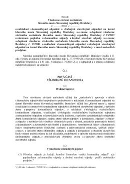 /Návrh/ Všeobecne záväzné nariadenie hlavného mesta Slovenskej