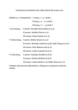 Vyhodnotenie školského kola súťaže Slávik Slovenska 2016