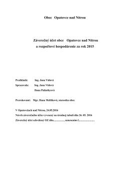 Záverečný účet obce 2015