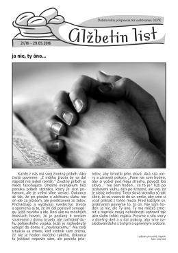 Alžbetin list č. 21/2016
