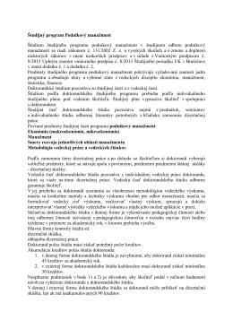 Študijný program Podnikový manažment Štúdium študijného