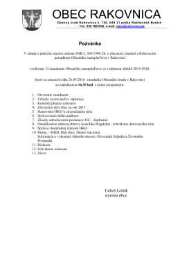 Pozvánka - Obec Rakovnica