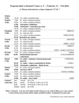 Program misií vo farnosti Vranov n. T. – Čemerné, 11