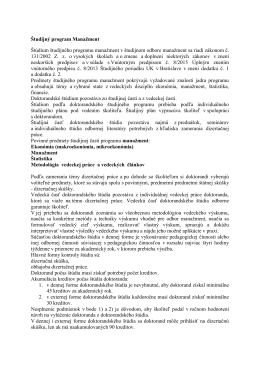 Študijný program Manažment Štúdium študijného programu