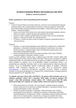 Grantová komisia Matice slovenskej na rok 2016