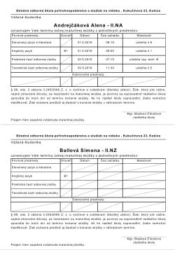 Rozvrh atudenta, Pozvánka s termínmi pre atudenta (2 pozvánky na