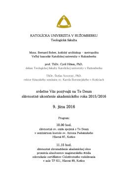 9. júna 2016 - Katolícka univerzita v Ružomberku