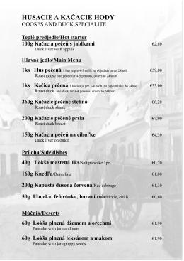 husacie a kačacie hody - Retro Restaurant™ Trenčín