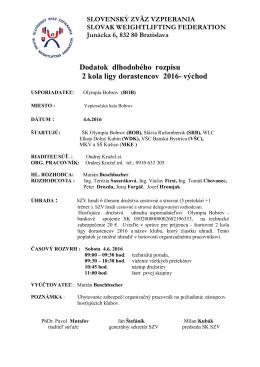 Dodatok rozpisu 2 kola DL 2016 -východ