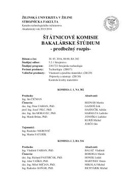 Komisie pre štátne záverečné skúšky bakalárskeho štúdia