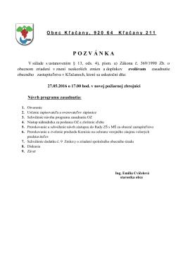 Pozvánka na zasadnutie OZ 27_mája_2015