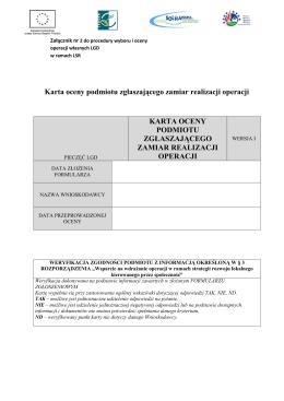 Karta oceny podmiotu zgłaszającego zamiar realizacji operacji
