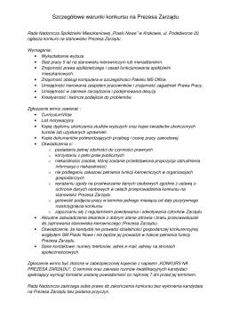 Szczegółowe warunki konkursu na Prezesa Zarządu