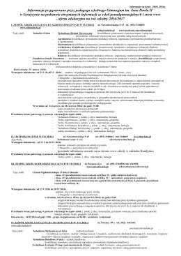 oferta edukacyjna na rok szkolny 2016/2017
