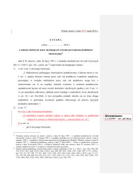 plik PDF Projekt 23.05.16 ustawy o zmianie niektórych ustaw