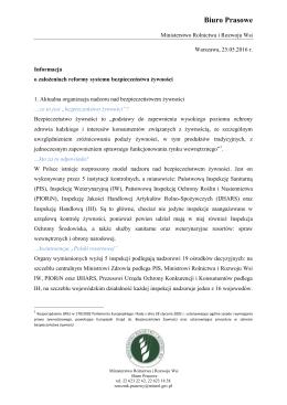 Biuro Prasowe - Ministerstwo Rolnictwa i Rozwoju Wsi