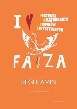 regulamin - Festiwal Amatorskich Zespołów Artystycznych FAZA