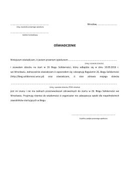 Oświadczenie opiekuna pozwalające na start podopiecznego w 26