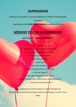 zaproszenie szkolny festyn integracyjny