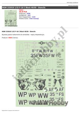 HGW 232010 1/32 F-16 C Block 40/50 - Stencils