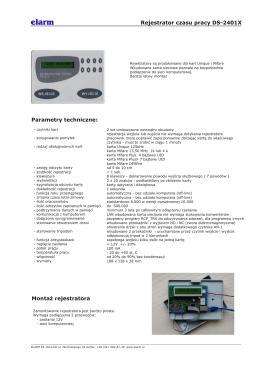 Rejestrator czasu pracy DS-2401X Montaż rejestratora Parametry