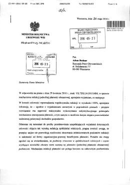 Odpowiedź z Ministerstwa Rolnictwa w sprawie redukcji dopłat