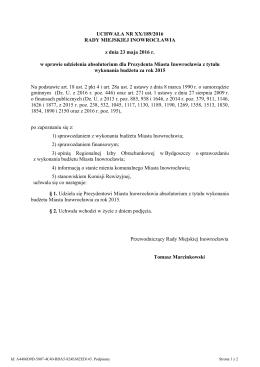 Uchwala Nr XX/189/2016 z dnia 23 maja 2016 r. - BIP