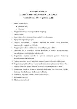 porządek obrad - BIP - Urząd Miejski Gminy Łobżenica