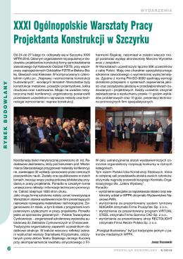 6 XXXI Ogólnopolskie Warsztaty Pracy Projektanta Konstrukcji w