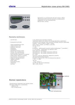 Rejestrator czasu pracy DS-2401 Montaż rejestratora Parametry