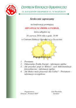 zaproszenie - konferencja OZE - Centrum Edukacji Ogrodniczej w