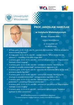 PROF. JAROSLAW HAREZLAK w Instytucie Matematycznym