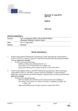 9249/16 nj/mk 1 DPG Obrady ustawodawcze 1. Projekt