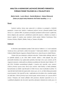 Analýza a hodnocení jazykové úrovně vybraných