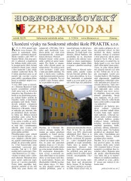 Hornobenešovský zpravodaj 5-2016