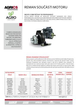 reman součásti motoru - AGRO