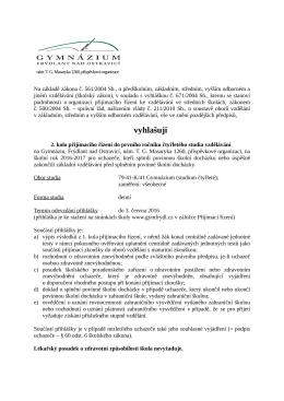 kritéria pro druhé kolo přijímacího řízení do čtyřletého studia pro