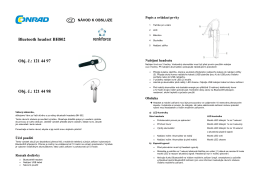 Bluetooth headset BH802 Obj. č.: 121 44 97 Obj. č.: 121 44 98