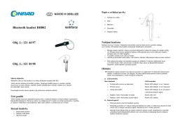 Bluetooth headset BH802 Obj. č.: 121 44 97 Obj. č.: 121 44 98