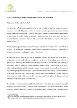 Výzva k účasti na mezinárodním výzkumu: Lifecycle of a Hate Crime