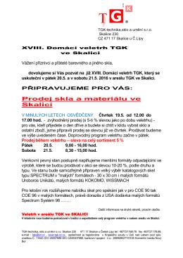 Prodej skla a materiálu ve Skalici